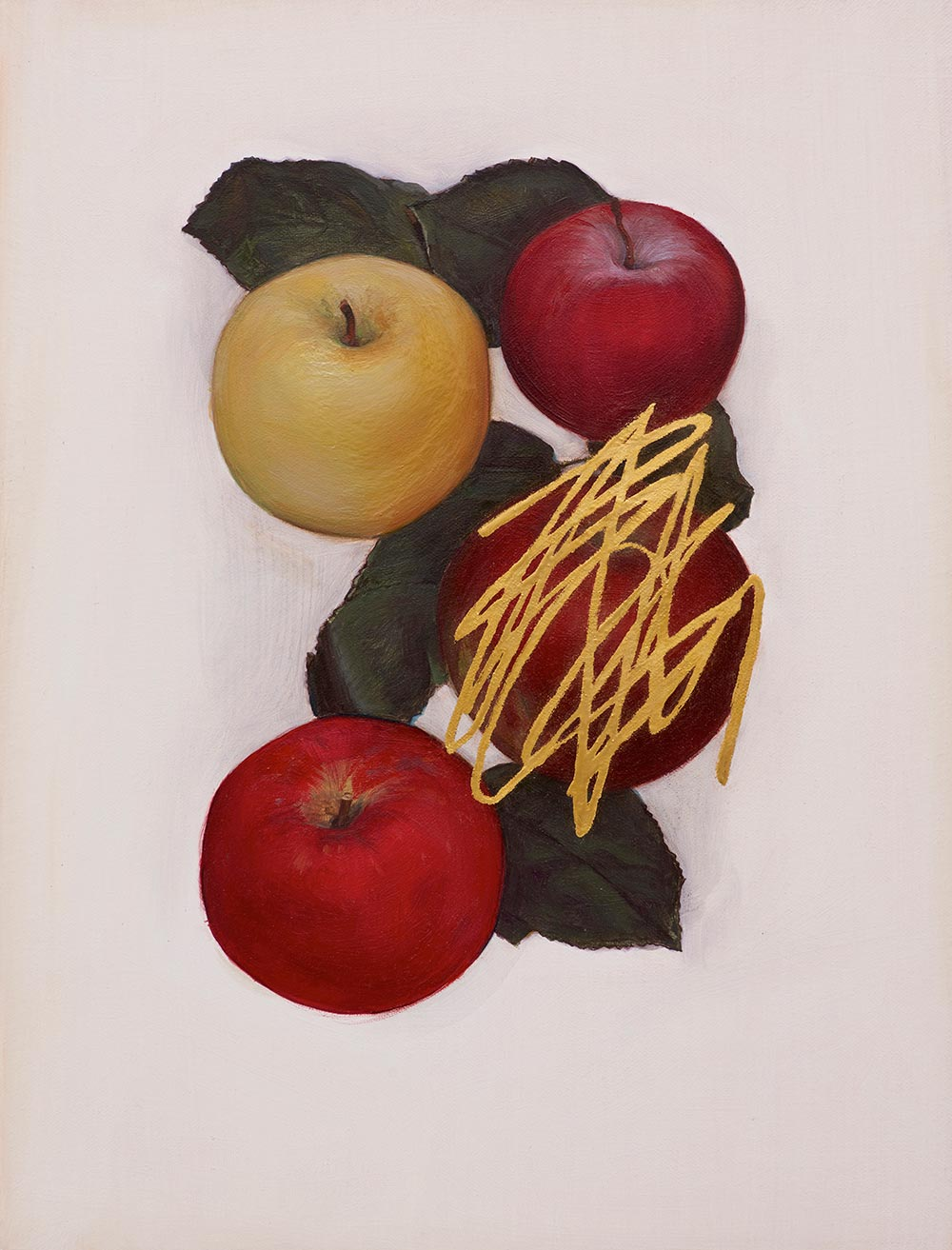 © Jen Mazza, Untitled (4 Apples, Gold), 2014