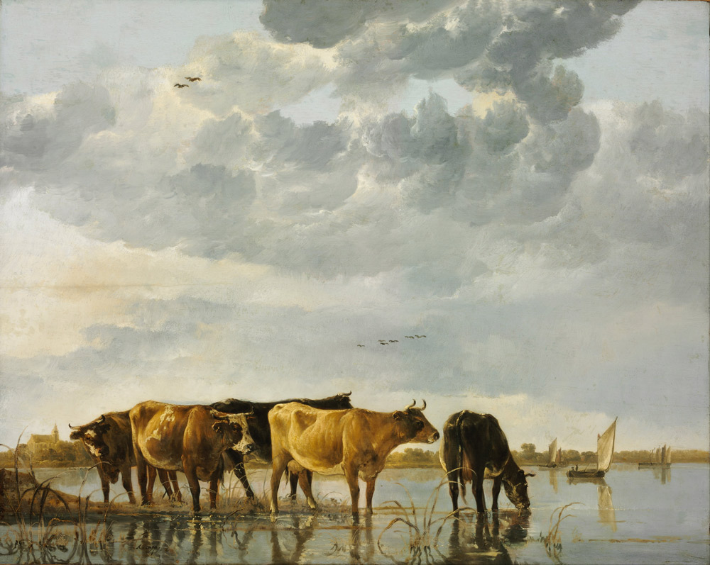 "Aelbert Cuyp, ""Cows in a River"", c. 1650"